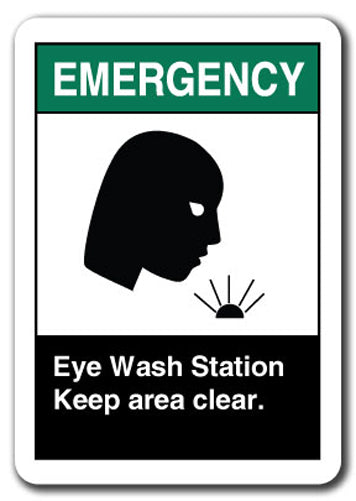 Emergency Sign - Eye Wash Station Keep Area Clear