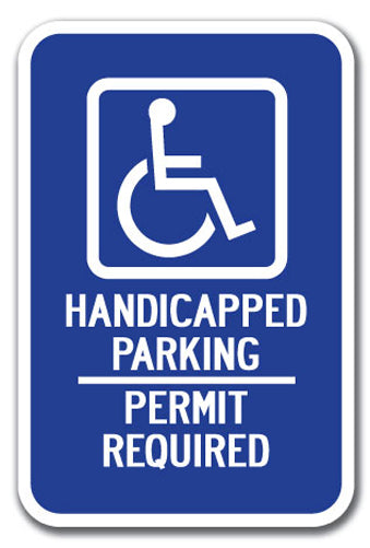 Handicapped Symbol with Handicapped Parking Permit Required
