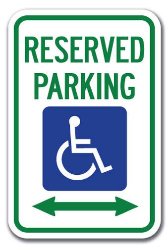 Reserved Parking with Handicapped Symbol and Arrow Pointing Left and Right