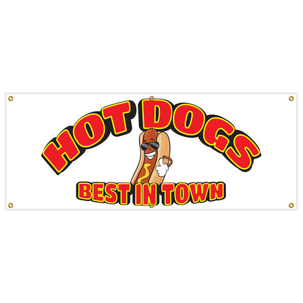 Hot Dogs Best In Town Banner
