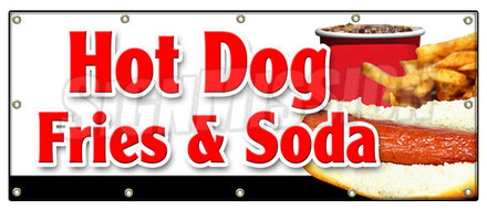 Hot Dogs Fries & Soda Banner