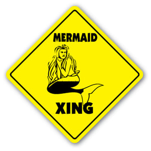 Mermaid Crossing Vinyl Decal Sticker