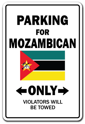 Parking For Mozambican Only Mozambique Flag Pride Vinyl Decal Sticker