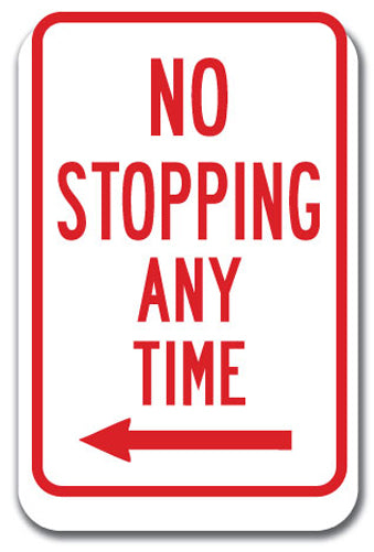 No Stopping or Standing - No Stopping Any Time with left arrow