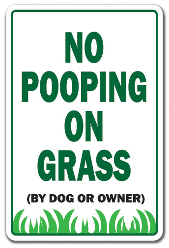 No Pooping On Grass Vinyl Decal Sticker