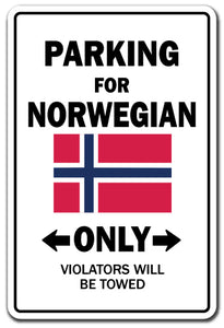 Parking For Norwegian Only Norway Flag Pride Vinyl Decal Sticker