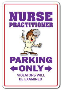 Nurse Practitioner Parking Vinyl Decal Sticker