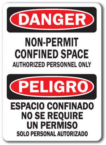 Danger Sign - Confined Space Non Permit (Bilingual)
