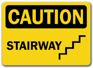 Caution Sign - Stairway (with graphic)