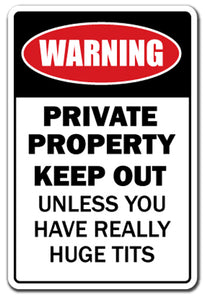 Private Property Huge Boobs Vinyl Decal Sticker