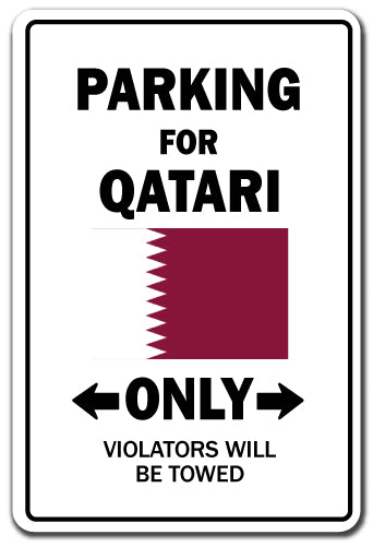 Parking For Qatari Only Qatar Flag National Pride Vinyl Decal Sticker