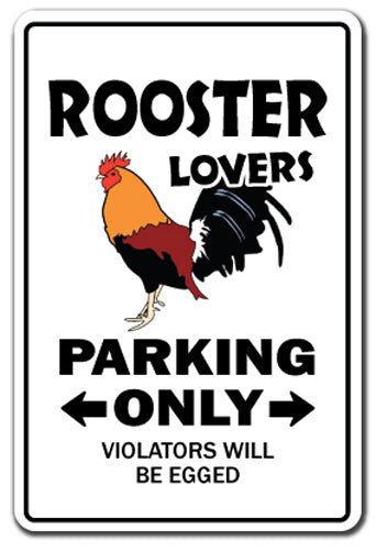 Rooster Lovers Parking Vinyl Decal Sticker