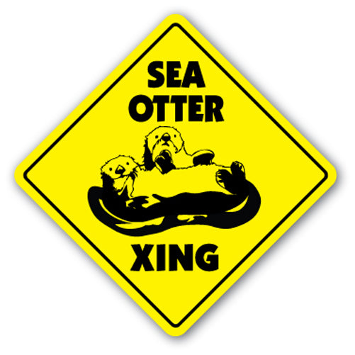 Sea Otter Crossing Vinyl Decal Sticker
