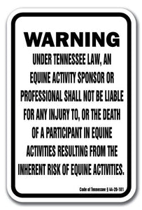 "Tennessee Equine 12"" x 18"" Aluminum Sign warning statute horse farm"