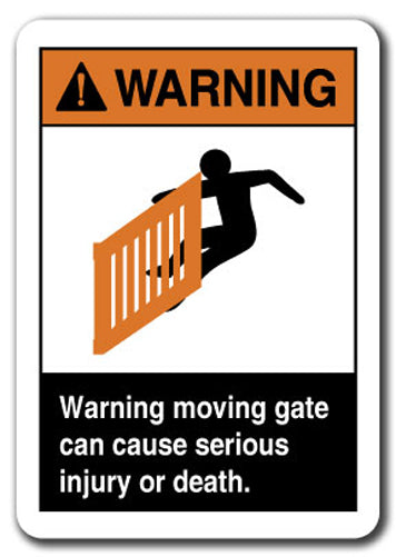 Warning Sign - Warning Moving Gate Can Cause Serious Injury