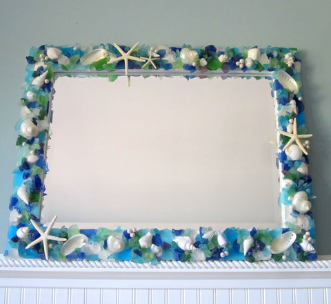 custom seashell mirror, custom sea glass mirror, custom beach glass mirror, beach decor