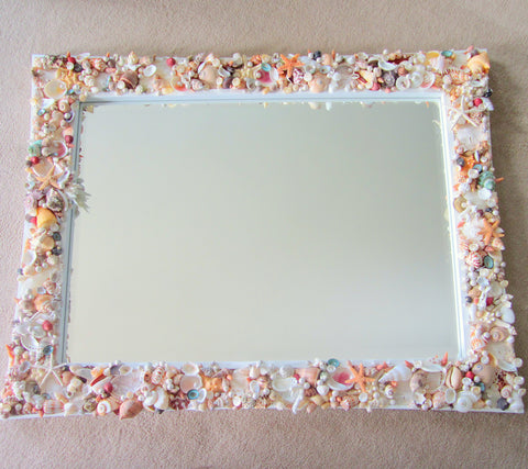 custom seashell mirror, custom shell mirror