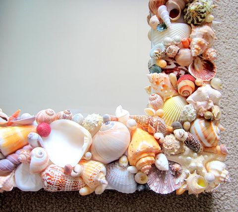 custom seashell mirror, custom shell mirror, beach decor