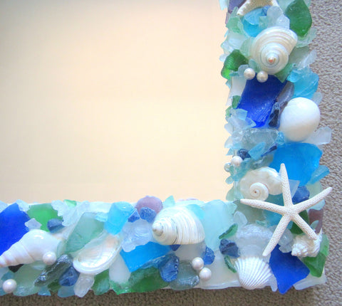 custom sea glass mirror, custom beach glass mirror, seaglass mirror