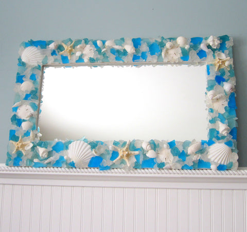 custom sea glass mirror, custom beach glass mirror, beach decor