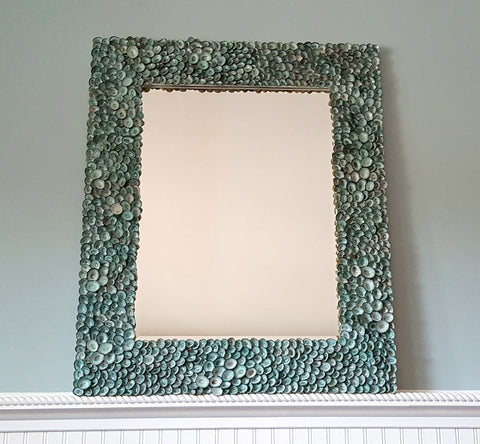 custom seashell mirror, aqua limpet shell mirror