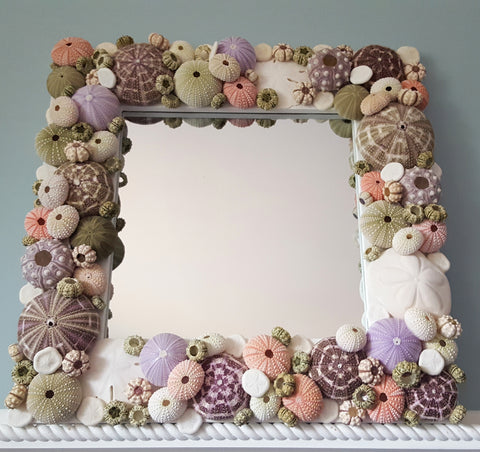 custom seashell mirror, custom sea urchin mirror