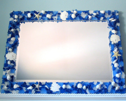 custom sea glass mirror, custom beach glass mirror