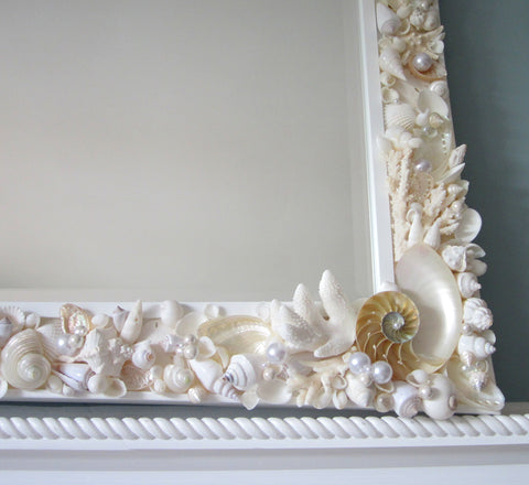 custom shell mirror, custom seashell mirror, coastal home decor