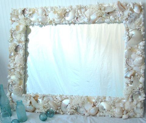 custom seashell mirror, custom shell mirror, coastal home decor