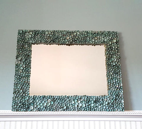 custom seashell mirror, custom aqua limpet shell mirror