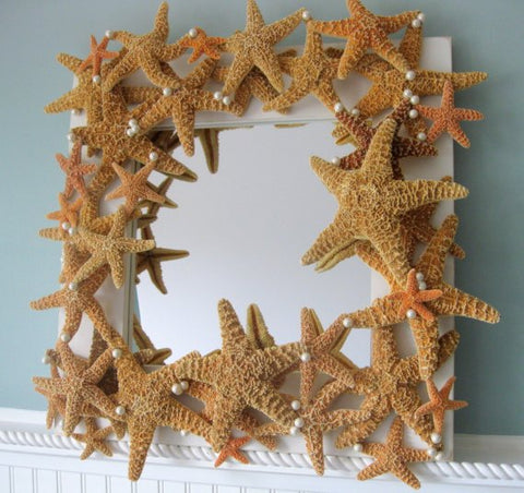 custoom starfish mirror, custom seashell mirror, nautical decor