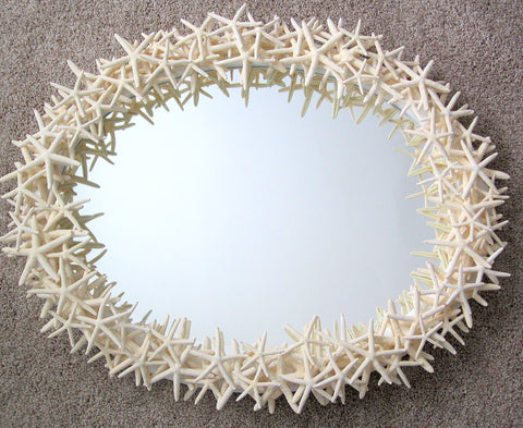 custom starfish mirror, custom seashell mirror