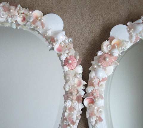 custom seashell mirror, custom sea glass mirror