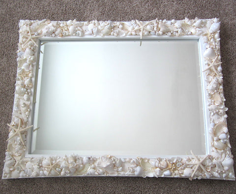 custom white shell mirror, custom white seashell mirror