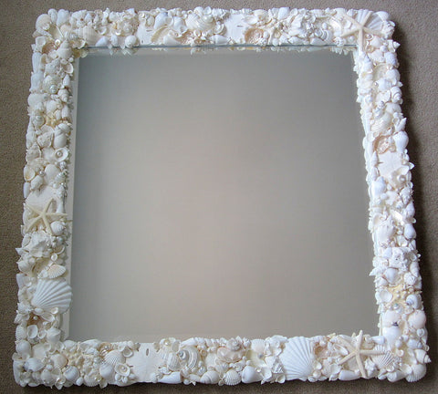 custom white seashell mirror, custom white shell mirror