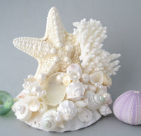 beach wedding cake topper, coral wedding cake topper, seashell wedding cake topper, sea glass wedding cake topper