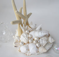 Beach Wedding Starfish Cake Topper, Nautical Seashell Sea Glass Wedding Cake Topper