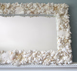 custom seashell mirror, custom shell mirror, seashell wall mirror, coastal home decor, nautical decor