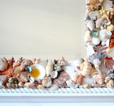 custom shell mirror, custom seashell mirror, white shell mirror, white seashell mirror, customized shell mirror
