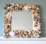 Beach Decor Seashell Mirror, Nautical Coastal Decor Shell Mirror in WHITE or COLORS
