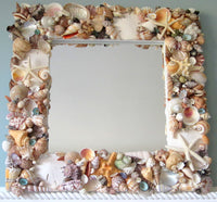 seashell mirror, shell mirror, white shell mirror, white seashell mirror, seashell wall mirror