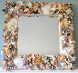 seashell mirror, shell mirror, colored shell mirror, colored seashell mirror, seashell wall mirror