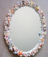 custom white seashell mirror, custom shell mirror, custom seashell mirror, white shell mirror, shell wall mirror