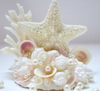 Beach Wedding Cake Topper w Seashells, Sea Glass, Starfish, & Coral - Nautical Coastal Wedding Cake Topper