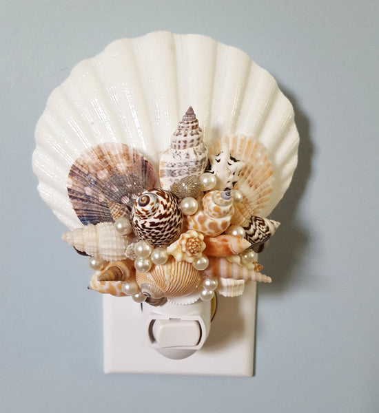 shell night light, seashell night light, shell night lite, seashell night lite, coastal decor, beach decor, nautical decor