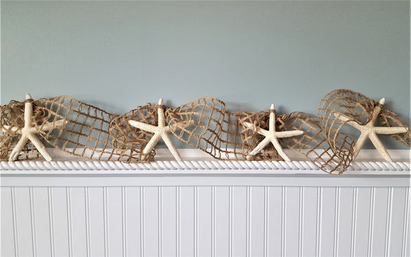 Beach Decor Starfish Garland w Nautical Decor BROWN Netting, Coastal Decor Beach Wedding or Christmas Garland, 10FT BROWN