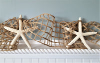 Beach Decor Starfish Garland w Nautical Netting, Beach Wedding Coastal Christmas 10FT