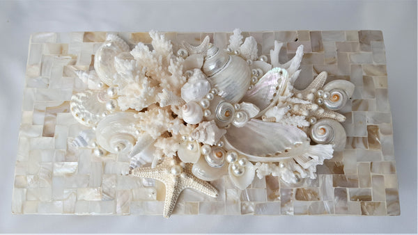 Seashell Coral Decorative Boxes, Nautical Coastal Beach Decor Shell Storage Box, 2 SIZES