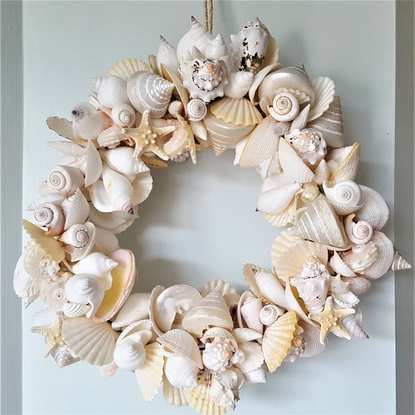 Seashell Wreath Beach Decor, Nautical Decor White Shell Wreath, Coastal Decor Wreath, 16""