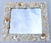 custom shell mirror, custom seashell mirror, large seashell mirror, luxury seashell mirror